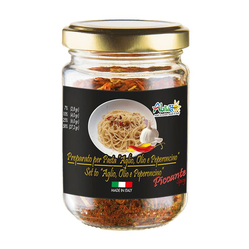 Condimento aglio olio e peperoncino piccante in barattolo - ACA Srl